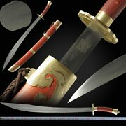 Cattle Tail Martial Arts Taichi Knife Sword Hand Forged Pattern Steel Blade 043