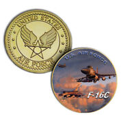 U.s. United States Air Force Usaf   F-16c   Gold Plated Challenge Coin