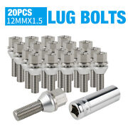 Nicecnc 20x Fit Bmw E Series Stainless Steel Lug Bolt M12x1.5 Conical Seat 28mm