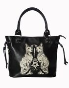 Lost Queen Esoteric Cat Gothic Pentagram Punk Kitty Purse Tote Bag Bg7246blk