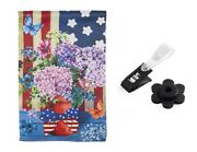 Patriotic Garden Flag Double Sided With Rubber Stopper And Anti-wind Clip
