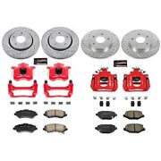 Kc6563 Powerstop Brake Disc And Caliper Kits 4-wheel Set Front And Rear For Vw