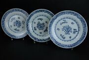 3 X Antique Chinese Export Porcelain Blue And White Large Plates 265 Cm