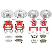 Kc2387-26 Powerstop Brake Disc And Caliper Kits 4-wheel Set Front And Rear For Rsx
