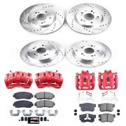 Kc229a Powerstop 4-wheel Set Brake Disc And Caliper Kits Front And Rear New