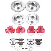 Kc6071-26 Powerstop Brake Disc And Caliper Kits 4-wheel Set Front And Rear For 328