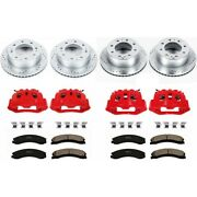 Kc1887 Powerstop 4-wheel Set Brake Disc And Caliper Kits Front And Rear For Ford