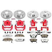 Kc2385-26 Powerstop 4-wheel Set Brake Disc And Caliper Kits Front And Rear Coupe