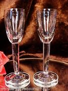 Toasting Pair Of Tall Crystal Footed 2oz Shot Or Cordial Glasses Unique Shape