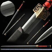Octahedral Han Sword Hand Forged Pattern Steel Blade Sharp Copper Fittings 082