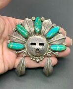 Will Denetdale Signed Navajo Sterling Silver Turquoise Kachina Pendant Necklace