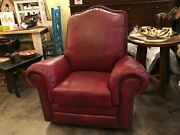 Colonial Red And Cowboy Tool 100 Top Grain Leather Rocker Recliner Made In Usa