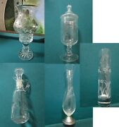 Victorian Glass Silver Overlay Candleholder Sterling Vase Cruet Apothecary Pic