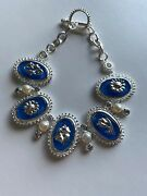 Lenox Vintage Bouguet Bracelet Sterling Silver 925 Faux Pearl And Crystal Oval New