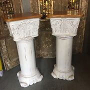 Pair Carved Wooden Corinthian Pedestal Stand Column Stained Antique Style Statue