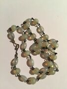 Vintage Antique Vaseline Opalescent Wired Moonstone Glass Beads Necklace Choker