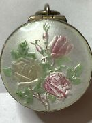 † Antique Sterling Guilloche Enameled Locket Hallmarked Case And Tiny Rosary 13 †