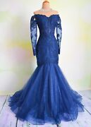Long Sleeve Blue Evening Formal Prom Pageant Wedding Mob Ball Gown Dress S 4/6