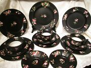 Antique 14 Pc Masonand039s England Ironstone Black Floral Plates Saucers Cups C1643