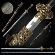 Cloud Dragon Sword Hand Forged Pattern Steel Blade Sharp Pure Copper Fittings083