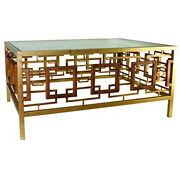 Vintage Style Square Iron Gold Coffee Table Geometric Cocktail Modern