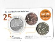 Netherlands 25 Years Day Of The Coin 1992-2017 5-20 Cents And Medal In Coincardb11