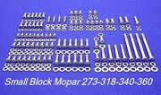 Mopar Engine Bolts Kit Small Block 273 318 340 360 Show Polished Stainless Steel