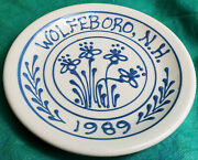 Vintage Cornish Hill Pottery Wolfeboro Nh 1989 Plate 7 White Blue Antique Old