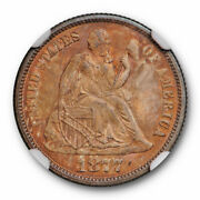 1877 Seated Liberty Dime 10c Ngc Ms 66 Uncirculated Orange Toned Unique