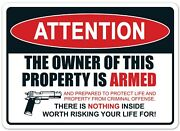 Attention Property Is Armed Decal Sticker Usa Made Gun Truck Vehicle Window Car