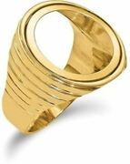 14k Yellow Gold 1/10oz American Eagle Diamond-cut Coin Ring Coin Not Included