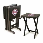 Philadelphia Phillies Tv Tray And Stand Set Game Room 4 Snack Trays Indoor New