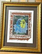 Pablo Picasso Women Woodcut Hand Signed In Red Pencil 1966 Coa Gold Wood Frame