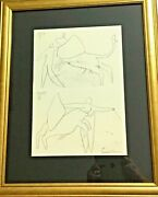 Pablo Picasso Lithograph Hand Signed In Brown Pencil 1959 Coa Gold Framed