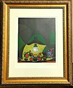 Pablo Picasso Abstract Woodcut Hand Signed In Red Pencil 1966 Coa