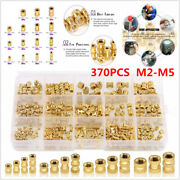 370pcs M2-m5 Brass Cylinder Knurled Threaded Round Insert Embedded Nuts Assorted
