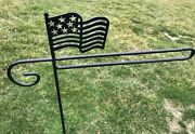 American Flag Holder Hook Stand Garden Heavy Duty Black Metal Outdoor Amish Usa