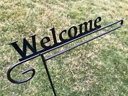 Welcome Garden Flag Holder Hook Stand Sign Heavy Duty Black Outdoor Metal Amish