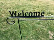 Metal Garden Yard Flag Holder Hook Stand Decoration Amish Made Usa Wrought Iron