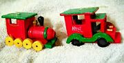 2 Wood Train Christmas Ornament Red Noel Caboose Table Top Decor 2 Vintage 35
