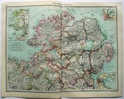 Original Map Of The North Of Ireland By George Philip And Son. C1907. Antique