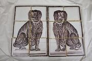 Lovely Pair Old Dutch Delft Dogs Manganese Kitchen Fireplace Tilepictures