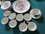 St Clément French Majolica, Rooster Flowers Plate And 9 Cups Saucers Coffee 19 Pc