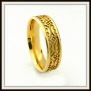 14 Kt Solid Yellow Gold Custom Made Wedding Band For Men And Ladies / Df 0018 /