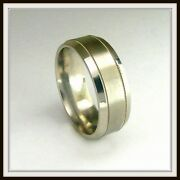 14 Kt Solid White Gold Custom Made Wedding Band For Men And Ladies / Df 0028 /