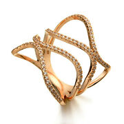 Ring Golden Pink Art Deco Wave Lacework Cz Bright Gold Plated Marriage T56 G3 82