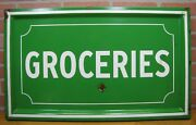 Groceries Old Porcelain Sign Grocery Country Corner Store Farm Stand Advertising