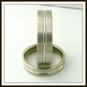 14 Kt Solid White Gold Custom Made Wedding Band For Men And Ladies / Df 0005 /