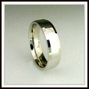 14 Kt Solid White Gold Custom Made Wedding Band For Men And Ladies / Df 0002 /