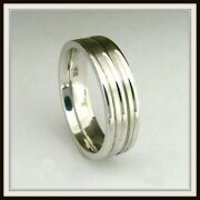 14 Kt Solid White Gold Custom Made Wedding Band For Men And Ladies / Df 0003 /